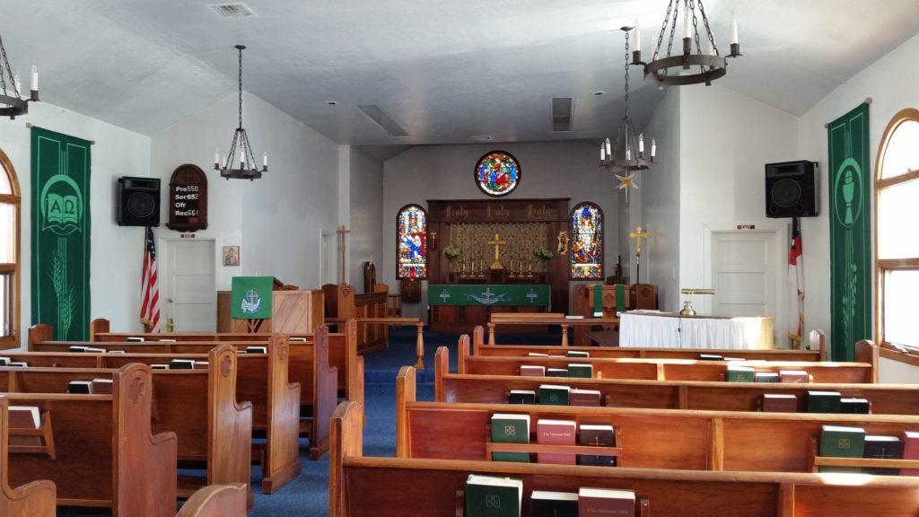 Historic interior of St. John's church in Williams, AZ
